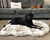 PupRug Faux Fur Memory Foam Orthopedic Dog Bed (Large/Extra Large - 50' L x 30' W, White Curve)