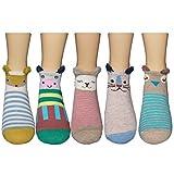 Womens Cotton Casual Socks 5 Pairs (No Show Low Cut Animals Socks 1)