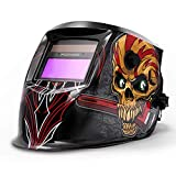 FOOWOO Solar Powered Welding Helmet Auto Darkening Hood with Adjustable Shade Range 4/9-13 for Mig Tig Arc Plasma, Professiona Welder Mask, 1CR2032 Lithium Replacement Battery Included Skull Design