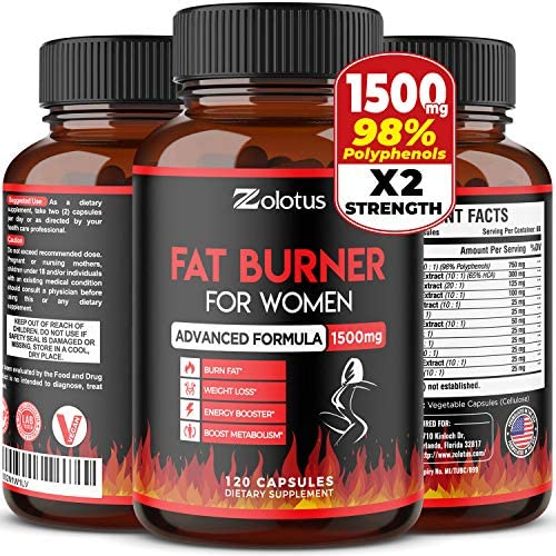 Natural Weight Loss Pills for Women, The Best Belly Fat Burners for Women and Men, Metabolism Booster, Energy Pills, Appetite Suppressant, Highest Potency with Green Tea Extract 98%, 120 Capsules 1