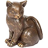 Cat Cremation Memorial Urn Statue Figurine Ashes Antique Finish Decoration Pet