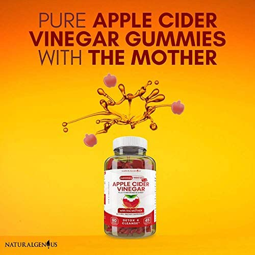 Vegan Apple Cider Vinegar Gummy Vitamins - 2X Strength for Kids, Adults - Option to Apple Cider Vinegar Capsules, Pills, Tablet - Detox, Cleanse, Weight Loss - ACV Gummies with Mother - 90, Non-Sticky 3
