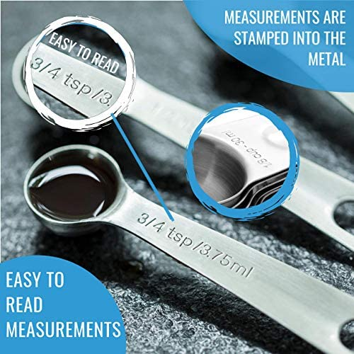 Stainless Steel Measuring Cups and Spoons Set: 7 Cup and 7 Spoon Metal Measure Sets of 14 Piece for Dry & Liquid Measurement - Kitchen Gadgets & Utensils for Cooking Food & Baking - Best for Nesting 6