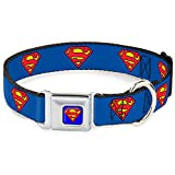 "Buckle-Down 9-15"" Superman Shield Blue Dog Collar, Small"