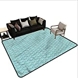 Abstract,Printed Mats for Children Bedroom 80'x 96' Bold Water Fishing Natural Fiber Area Rug