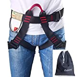 Climbing Harness, Oumers Safe Seat Belts for Mountaineering Tree Climbing Outdoor Training Caving Rock Climbing Rappelling Equip - Half Body Guide Harness Protect Waist Safety Harness for Women Man
