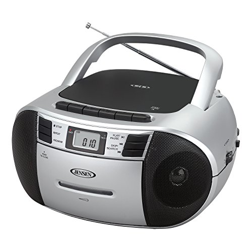 Jensen CD-545MP3 Top-Loading CD/MP3 AM/FM Radio Cassette Player, and Recorder Boombox Home Audio, Aux, Headphone (Silver/Black)
