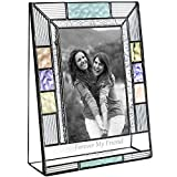 J Devlin Pic 391-46V EP587 Personalized Friends Picture Frame 4 x 6 Vertical Photo Colorful Stained Glass Blue Purple Green