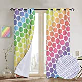 NUOMANAN Bathroom Curtains Polka Dots,Polka Dots in Soft Rainbow Colors Big Points Eternal Shapes Retro Artful Pattern, Multi,Room Darkening Waterproof Curtains for Bathroom 84'x84'
