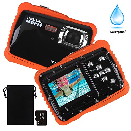 Waterproof Camera for Kids, DECOMEN Underwater Digital Camera for Children, Sport Action Camcorder with 12MP HD Photo Resolution