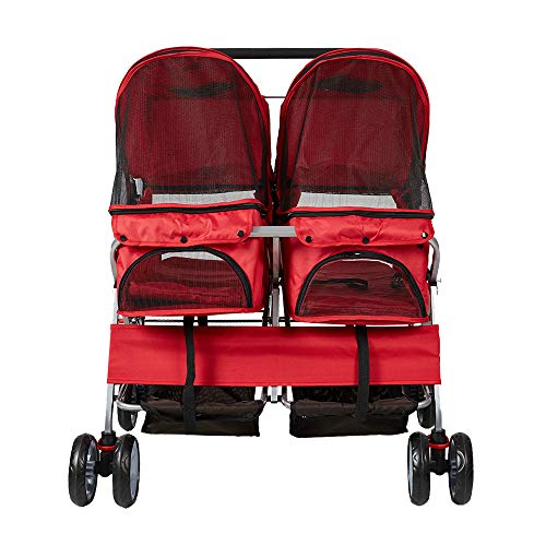 Lucky Tree Pet Stroller Twin Folding Dog Cat Carrier Travel Cart, Multiple Colors
