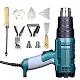 Heat Gun Variable Temperature, Hot Air Gun 122°F - 1020°F with 5 Nozzle Attachments for Stripping Paint, Shrinking PVC/Wrap, Cell Phone Repairs (1500W (2 Temp Setting))
