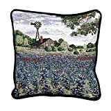 Texas Bluebonnets Decorative Tapestry Toss Pillow Made in the USA