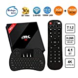 [Powerful Android TV Box] H96 Pro Plus TV Box Android 7.1 3G RAM 16G ROM Amlogic S912 Octa Core Smart Android Box Dual WiFi 2.4G/5.8GHz Bluetooth 4.1 with Wireless Keyboard