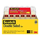 Scotch Double Sided Tape, Narrow Width, Engineered for Bonding, Photo-Safe, 1/2 x 500 Inches, 6...