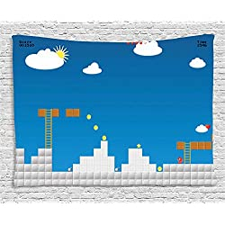 Lunarable Boy's Room Tapestry by, Old Fashion Computer Video Games Platform Coins Bricks Clouds Graphic, Wall Hanging for Bedroom Living Room Dorm, 80 W X 60 L Inches, Blue Pale Grey Brown