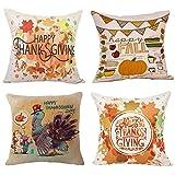 Wonder4 Happy Thanksgiving Day Fall Decor Pumpkin Decorative Pillow Covers Cotton Linen Home Decor Design Thanksgiving Happy Turkey Day Farmer Harvest Pumpkins Autumn Leaves 18x18 Inch Set of 4