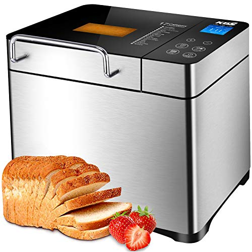 KBS Automatic Bread Machine, 2.2LB Stainless Steel Bread Maker with Fruit Nut Dispenser, Ceramic Pan, Smart Touch Button, 19 Programs, 3 Loaf Sizes, 3 Crust Colors, 15 Hours Delay and 1 Hour Keep Warm