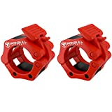 Barbell Collars (Pair) - Locking 2' Olympic Size Weight Clamps - Quick Release Collar Clips - Bar Clamps Great for Weight Lifting, Olympic Lifts and Strength Training (Red)