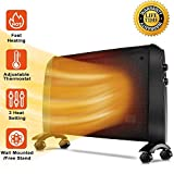 Mica Panel Heater - 1500W Wall Mounted Heater with Free Stand, 350 Sq Ft Coverage, Low Noise, Smart Thermostat, Rapid Heating, Electric Heater with Overheating & Tip-Over Protection, Allergy-Friendly