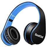 BestGot Kids Headphones for Kids Boys Adult with Microphone in-line Volume Included Cloth Bag Foldable Headset with 3.5mm Plug Removable Cord (Black/Blue)