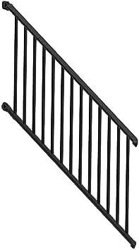 Weatherables Classic Square 3 Ft H X 97 1 4 In W Textured Black | Black Aluminum Stair Railing | Exterior | Modern | Steel | Cable Rail | Deckorators
