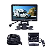 "Camecho Vehicle Backup Camera 7"" TFT Monitor,18 IR Night Vision Rear View Camera Without Gride Line IP 68 Waterproof, 4 Pins Aviation Extension Cable for 33FT Length RVs, Bus, Trailer,Truck"
