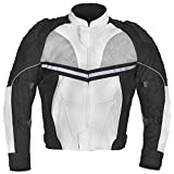 Men Motorcycle Textile Waterproof Windproof Jacket Black & White MBJ068