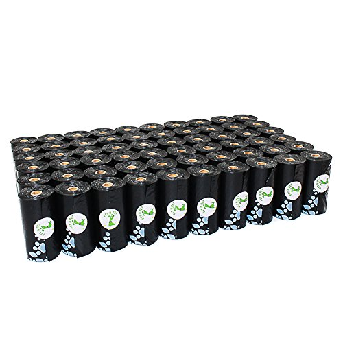 PET N PET Poop Bags 1080 Counts Earth-Friendly Dog Waste Bags Large Black Unscented 60 Rolls (Refill Bags)