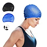 CosyInSofa Swim Cap Women Silicone Swimming Cap for Long/Curly Hair Swimming Cap Women Men Kids Bathing Cap with Nose Clip and Ear Plug (Blue)