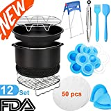 HLDJYB 8 Inch Air Fryer Accessories: 12 Set for XL Gowise Phillips and Cozyna Air fryer Fit 5.3/5.8/6 / 6.8Qt and UP - FDA Material and BPA Free