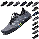 LINGTOM Mens Womens Aqua Water Shoes Quick Dry Barefoot Sports Exercise for Walking Swimming Diving Beach Surf Pool Yoga,Grey 11.5 M US Women / 10 M US Men