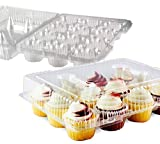 Chefible 12 Plastic Disposable Cupcake Container, Takeout Container, Cupcake Carrier - Set of 4