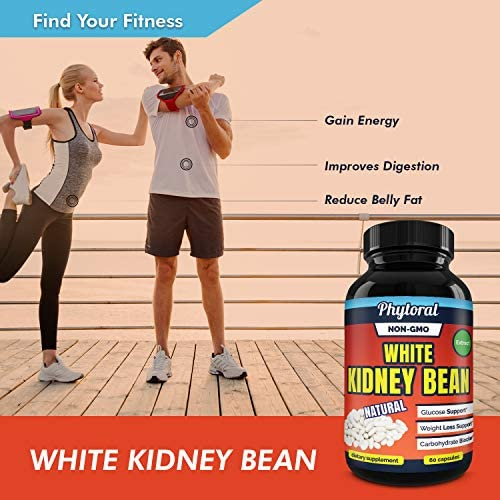 White Kidney Bean Supplement Pills Pure Extract Starch Carb Blocker Weight Loss Formula - Lose Belly Fat Suppress Appetite Boost Metabolism Natural Weight Loss for Men and Women by Phytoral 7