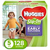 HUGGIES Little Movers Slip On Diaper Pants, Size 5, 128 Count, ECONOMY PLUS (Packaging May Vary)
