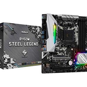 ASRock B450M Steel Legend Socket AM4/ AMD Promontory B450/ DDR4/ Quad CrossFireX/ SATA3&USB3.1/ M.2/ A&GbE/MicroATX…