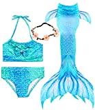 3 Pcs Girls Swimsuit Mermaid Tails for Swimming Princess Bikini Bathing Suit Set Can Add Monofin for 3-12Y (Height 42-44in(3-4Y), A-Blue sea)