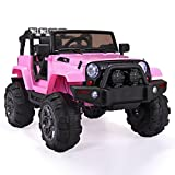 Tobbi Kids Ride on Jeep Style Truck 12V Battery Powered Electric Car W/Remote Control Pink