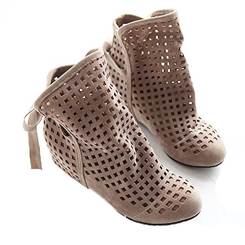 Women Autumn Fashion Roma Casual Flock Flat Hollow Out Slip on Low Hidden Wedge Summer Ankle Boots Beige 7.5 B(M) US/EU 38