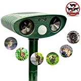 ZOVENCHI Ultrasonic Animal Repeller, Solar Powered Repeller with Motion Sensor Ultrasonic and Red Flashing Lights Outdoor Waterproof Farm Garden Yard, Repel Cats, Dogs, Foxes, Birds, Skunks, Rod