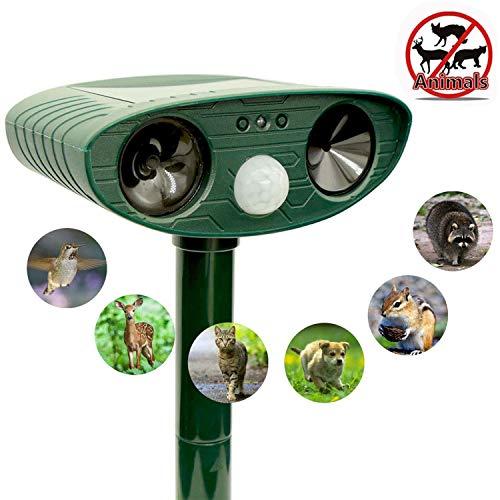 ZOVENCHI Ultrasonic Animal Repeller, Solar Powered Repeller with Motion Sensor Ultrasonic and Red Flashing Lights Outdoor Waterproof Farm Garden Yard, Repel Cats, Dogs, Foxes, Birds, Skunks, Rod ...