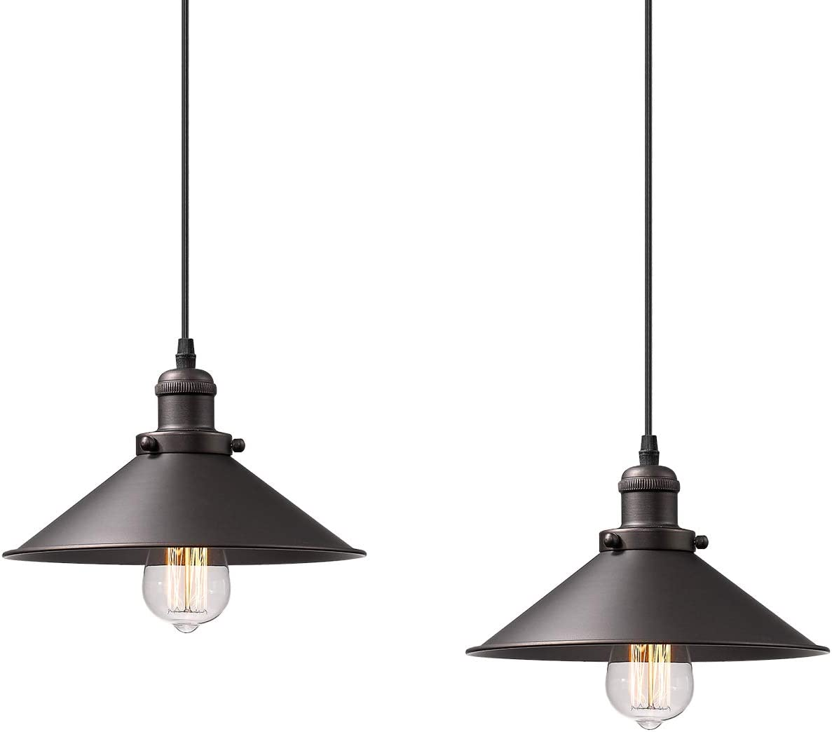 Zeyu Pendant Lighting 2 Pack Industrial Hanging Lights For Kitchen Oil Rubbed Bronze Finish With Metal Shade 102 A2 Orb Amazon Com