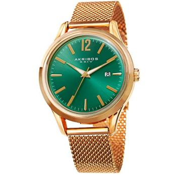 Akribos XXIV Men's Quartz Gold-Tone Case with Gold-Tone Accented Green Sunray Dial on Gold-Tone Mesh Stainless Steel Bracelet Watch AK920YGGN