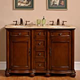 Product review for Silkroad Exclusive Countertop Travertine Double Sink Bathroom Vanity with Cabinet, 52-Inch