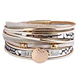 AZORA Leather Wrap Bracelets for Women Goldplated Metal Crescent Cuff Bracelet with Magnetic Buckle Casual Bohemian Wrist Bangle Jewelry Gift for Ladies Teen Girls Sister Mum