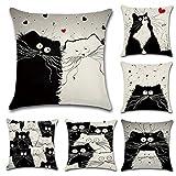 2 Pack Pillow Covers Cushion-Black Fluffy Cartoon Cat Pillow Case Printed Cotton Linen Car Sofa Home Office Decorative 18 X 18