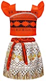 AmzBarley Moana Costume for Girls Dress Up Fancy Party Supplies Princess 2 Piece Skirt Sets Moana Adventure Outfits Children Clothes Age 1-2 Years Size 2T Orange