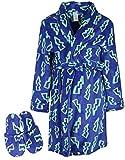 Too Cool 2 Sleep Boys Printed Robe Slippers, Dark Blue Bolts, 10/12'