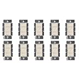 Lutron Caseta Wireless Smart Lighting Dimmer Switch for Wall & Ceiling Lights, PD-6WCL-LA, Light Almond, Compatible with Alexa, Apple HomeKit, and the Google Assistant (10 pack) (light almond)