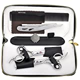 CCbeauty Barber Supplies Equipment 1 Set Professional Barber Hair Cutting Scissors Shears Thinning/Texturising Kit with a Black Case,#1 Rose red crystal